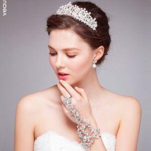 Witte Luxe Diamanten Kroon Tiara / Bruiloft Haar Accessoires Gemonteerd Bruids Sieraden Stuk