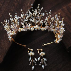 Charmant Gold Brautschmuck 2020 Legierung Perle Strass Tiara Ohrringe Hochzeit Brautaccessoires