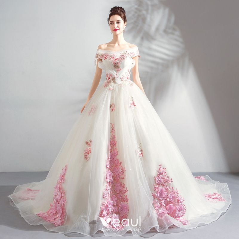 Chic Beautiful White Wedding Dresses 2018 Ball Gown Appliques
