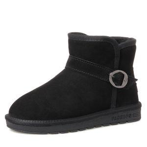 Mode Stiefel Damen 2017 Schwarz Leder Ankle Boots Wildleder Schnalle Freizeit Winter Flache Schneestiefel