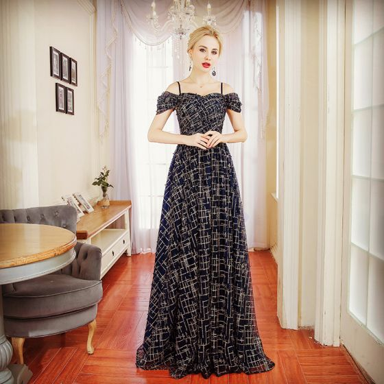 Chic / Beautiful Navy Blue Evening Dresses  2018 A-Line / Princess Pearl Spaghetti Straps Backless Short Sleeve Floor-Length / Long Formal Dresses