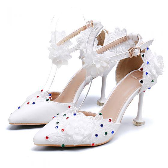 Chic / Belle Ivoire Promo Chaussures Femmes 2020 En Dentelle Fleur Appliques Faux Diamant Bride Cheville 6 cm Talons Aiguilles À Bout Pointu Talons