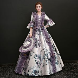 Vintage / Retro Multi-Colors Floor-Length / Long Ball Gown Prom Dresses 2018 3/4 Sleeve U-Neck Lace-up Charmeuse Appliques Backless Printing Prom Formal Dresses