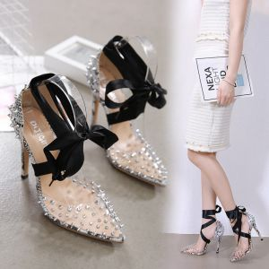 Fashion Black Evening Party Snakeskin Print Womens Sandals 2020 Ankle Strap Bow Rhinestone 12 cm Stiletto Heels Pointed Toe Sandals