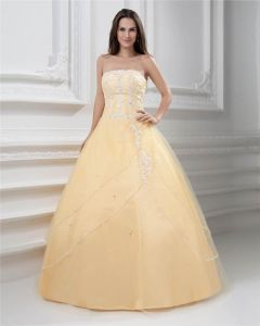 Ball Gown Strapless Beading Floor Length Floor Length Satin Quinceanera Prom Dress