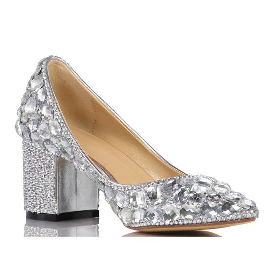 Mooie / Prachtige Zilveren Kristal Bruidsschoenen 2020 Leer Rhinestone 5 cm Dikke Hak Spitse Neus Huwelijk Pumps