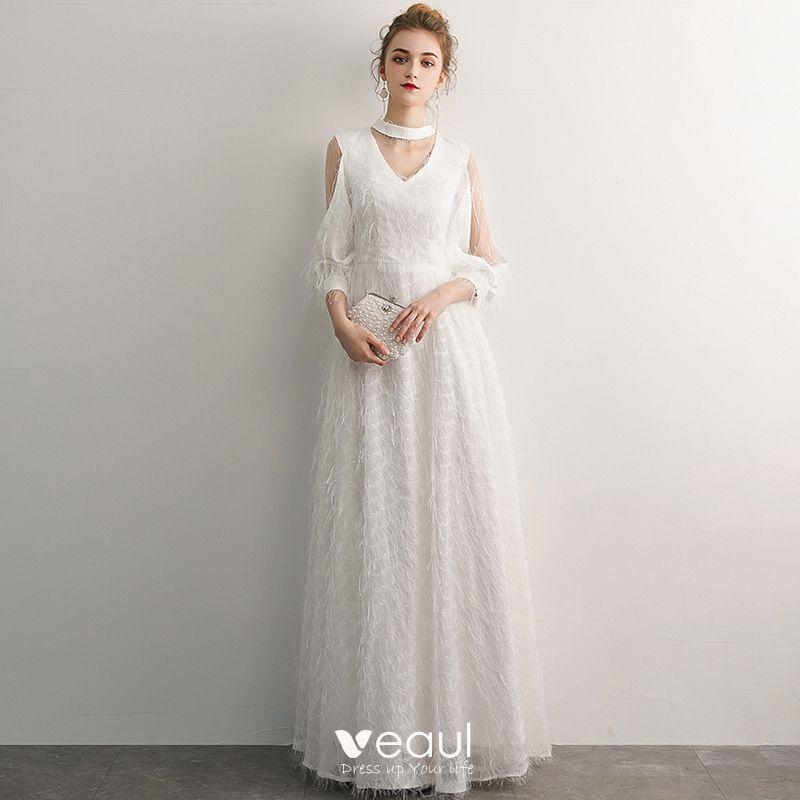Linie Ivory Creme Rundhalsausschnitt Elegante A Abendkleider 2019 UzVqMpSLG