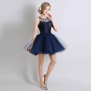Chic / Belle Bleu Marine Robe De Cocktail 2017 Robe Boule Cristal Perlage Encolure Dégagée Dos Nu Courte Robe De Ceremonie