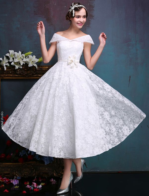 Beautiful Short Wedding Dresses 2016 Off The Shoulder White Lace Wedding Dress With Flower Sash