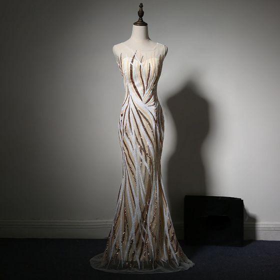 Sparkly Champagne White Evening Dresses  2017 Trumpet / Mermaid Scoop Neck Sleeveless Sequins Floor-Length / Long Formal Dresses