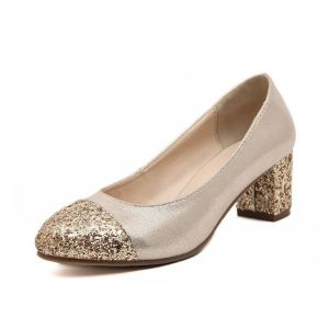 Sparkly Gold Pumps Thick Heel Womens Shoes With Glitter