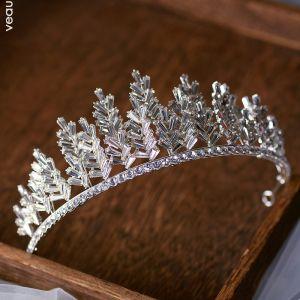 Mooie / Prachtige Zilveren Tiara Bruids Haaraccessoires 2020 Legering Rhinestone Huwelijk Accessoires
