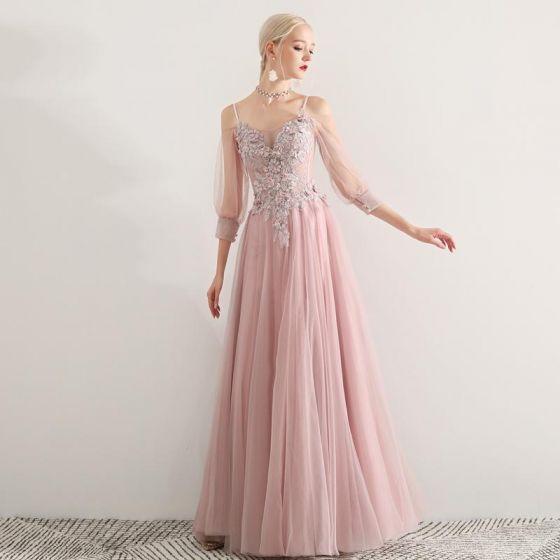 fd20f417d Elegantes Rosa Clara Vestidos de gala 2019 A-Line   Princess Spaghetti  Straps Apliques Con Encaje Flor Rebordear 3 4 Ærmer Sin Espalda Largos ...