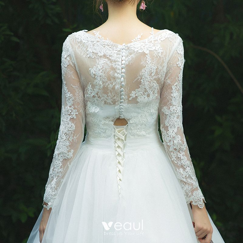 Modest / Simple Ivory Pierced Wedding Dresses 2019 A-Line