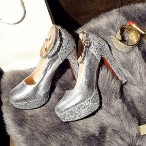 Chic / Belle Argenté Chaussures Femmes 2017 PU À Bout Rond Kniehohe Perlage Paillettes Escarpins Soirée