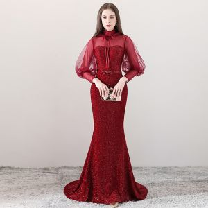 Bling Bling Burgundy See-through Evening Dresses  2018 A-Line / Princess High Neck Long Sleeve Beading Bow Sash Court Train Formal Dresses