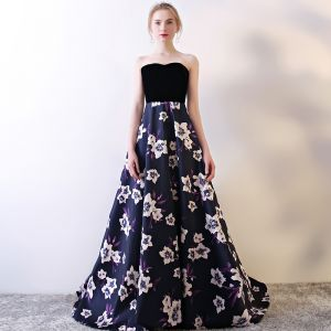 Flower Fairy Purple Evening Dresses  2017 A-Line / Princess Charmeuse Buckle Printing Strapless Evening Party Formal Dresses