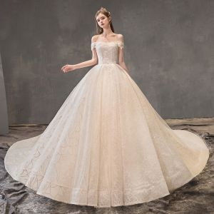 Chic / Beautiful Champagne Wedding Dresses 2019 A-Line / Princess Off-The-Shoulder Short Sleeve Backless Appliques Lace Beading Pearl Glitter Tulle Royal Train Ruffle