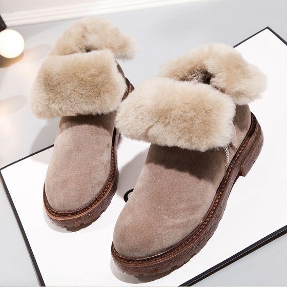 Modern / Fashion Snow Boots 2017 Khaki Leather Ankle Suede Zipper Casual Winter Low Heels / Kitten Heels Womens Boots