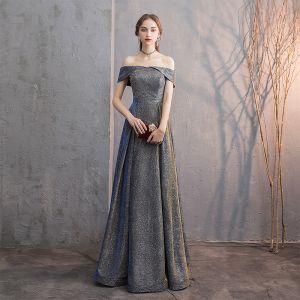 Błyszczące Sukienki Wieczorowe 2019 Princessa Przy Ramieniu Cekinami Satyna Kótkie Rękawy Bez Pleców Długie Sukienki Wizytowe