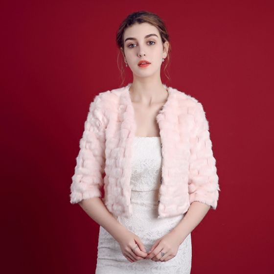 Blushing Pink Winter 1/2 Sleeves Scoop Neck Faux Fur Evening Party Prom Wedding Coats / Jackets 2017