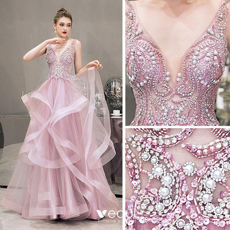 Illusion Rosa Abendkleider 2019 A Linie Tiefer V ...