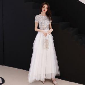 Sparkly White Evening Dresses  2018 A-Line / Princess Sequins Scoop Neck Short Sleeve Ankle Length Formal Dresses
