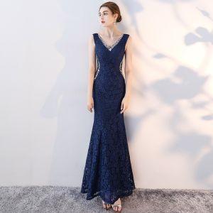 Schöne Marineblau Abendkleider 2017 Mermaid Spitze Pailletten V-Ausschnitt Rückenfreies Ärmellos Knöchellänge Festliche Kleider