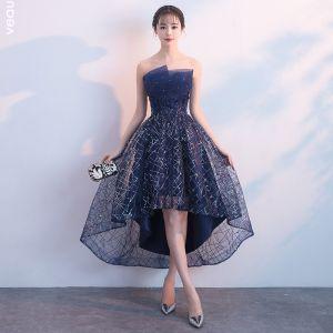 Bling Bling Bleu Marine Robe De Cocktail 2018 Princesse Bustier Sans Manches Glitter Paillettes Cristal Faux Diamant Asymétrique Volants Dos Nu Robe De Ceremonie