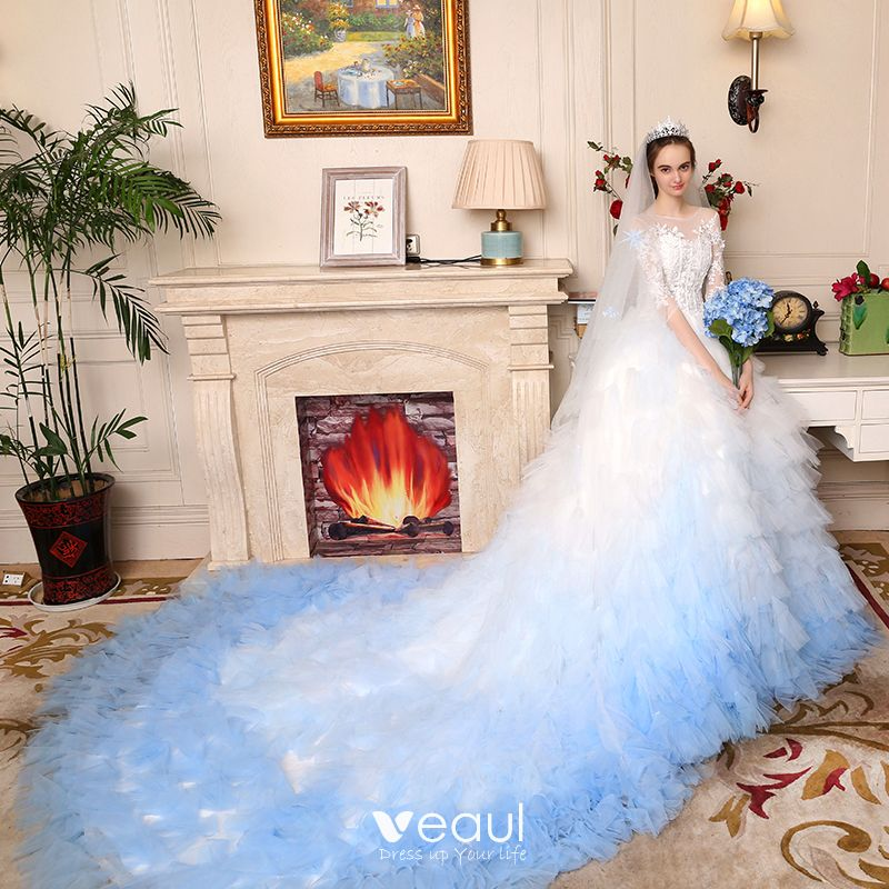 Blue And White Wedding Gowns: Stunning White Gradient-Color Sky Blue Pierced Wedding