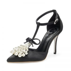 Mote Svart Ball Sandaler Dame 2020 Lær Sløyfe T-Stropp Perle Rhinestone 9 cm Stiletthæler Spisse Sandaler