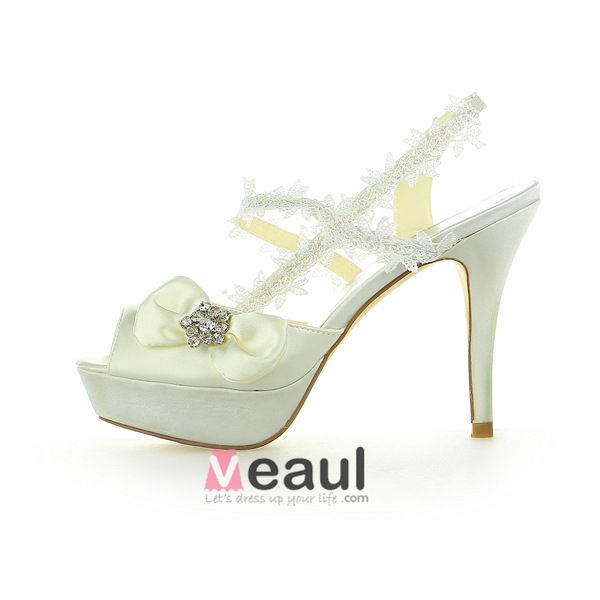 Princess Bridal Shoes Satin Stilettos Slingbacks Sandals