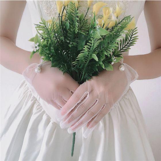 Enkel Hvit Brudehansker 2020 Beading Perle Tyll Ball Bryllup Tilbehør