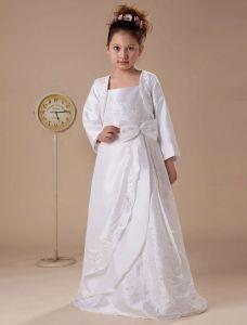 Weiße Langarm Applikationen Satin Blumenmädchen Kleid Kommunionkleider