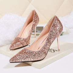 Sparkly Champagne Evening Party Pumps 2020 Sequins 9 cm Stiletto Heels Pointed Toe Pumps