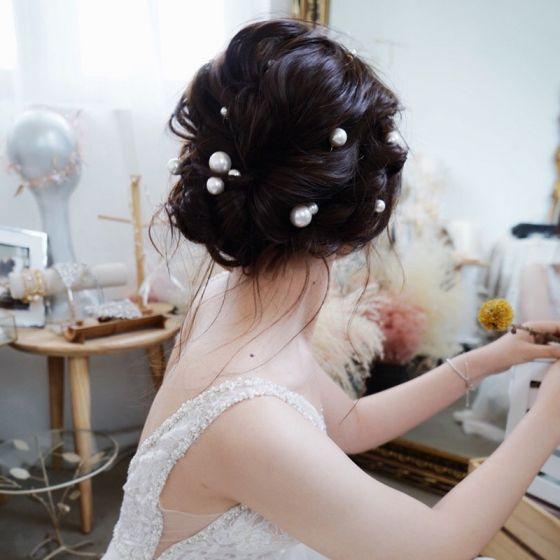 Elegante Ivory / Creme Perle Hochzeit Kopfschmuck 2020 Metall Haarschmuck Braut