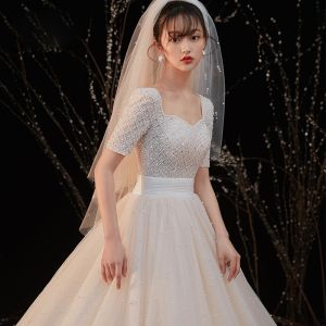 Luxury / Gorgeous Champagne Bridal Wedding Dresses 2020 Ball Gown Square Neckline Short Sleeve Backless Handmade  Beading Pearl Glitter Tulle Cathedral Train Ruffle