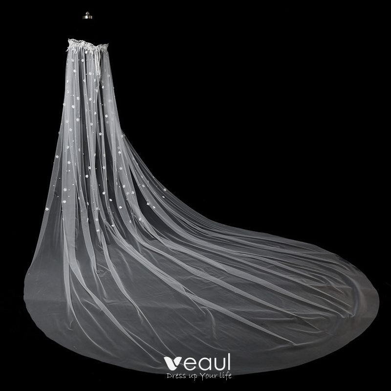 Chic / Beautiful White Wedding Veils 2017 Tulle Embroidered Wedding