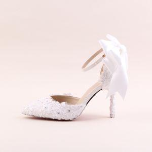 Elegant Ivory Brudesko 2020 Rhinestone Med Blonder Blomsten Sløjfe 9 cm Stiletter Spidse Tå Bryllup Sandaler