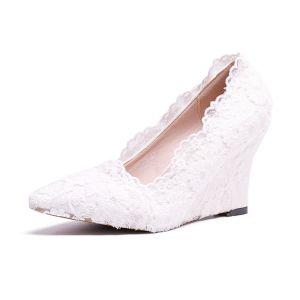 Hermoso Marfil Gala Zapatos De Mujer 2020 Con Encaje Flor Punta Estrecha 8 cm De Cuña