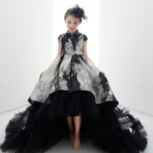 High Low Black Gold Birthday Flower Girl Dresses 2020 Ball Gown High Neck Cap Sleeves Sash Printing Tulle Asymmetrical Ruffle