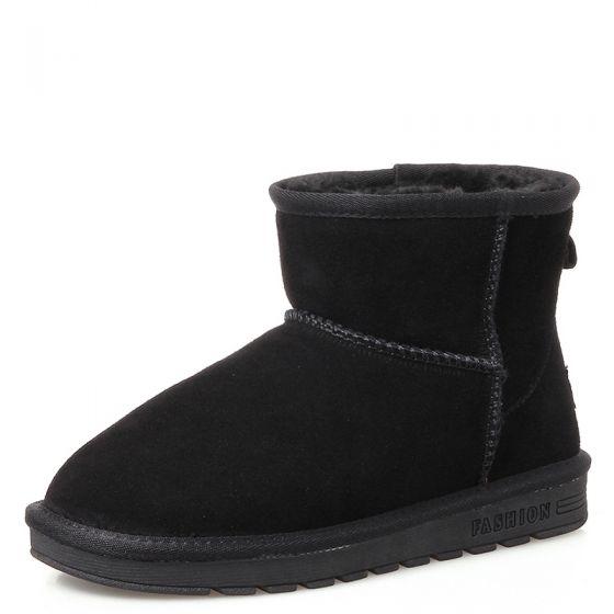 Schlicht Stiefel Damen 2017 Schwarz Leder Ankle Boots Wildleder Freizeit Winter Flache Schneestiefel