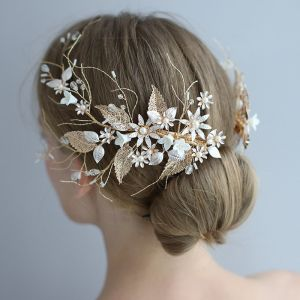 Elegant Gold Bridal Hair Accessories 2020 Leaf Metal Crystal Flower Wedding Headpieces