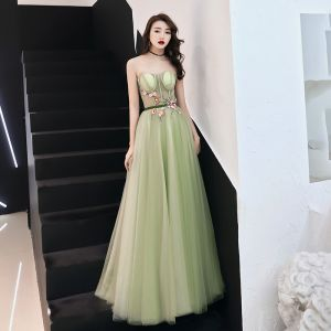 Flower Fairy Sage Green See-through Prom Dresses 2019 A-Line / Princess Strapless Sleeveless Appliques Lace Sash Floor-Length / Long Ruffle Backless Formal Dresses