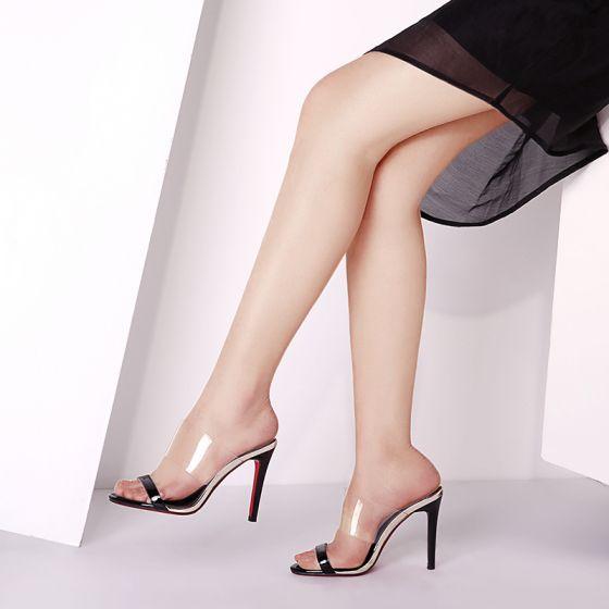 Chic / Beautiful Outdoor / Garden Sandals 2017 Leather Sequins High Heel Open / Peep Toe Womens Sandals