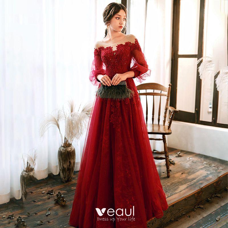 Elegante Rot Abendkleider 2020 A Linie Durchsichtige ...