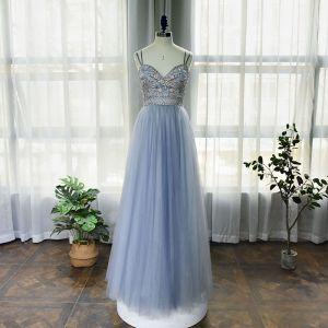 High-end Sky Blue Dancing Prom Dresses 2020 A-Line / Princess Spaghetti Straps Sleeveless Beading Rhinestone Floor-Length / Long Ruffle Backless Formal Dresses