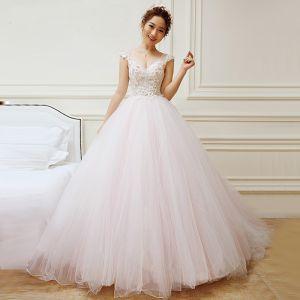 Charmant Ivoire Rougissant Rose Robe De Mariée 2018 Princesse V-Cou Sans Manches Dos Nu Appliques Fleur Perlage Volants Chapel Train