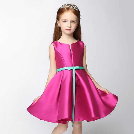 Chic / Beautiful Hall Wedding Party Dresses 2017 Flower Girl Dresses Fuchsia Short A-Line / Princess Cascading Ruffles V-Neck Sleeveless Sash