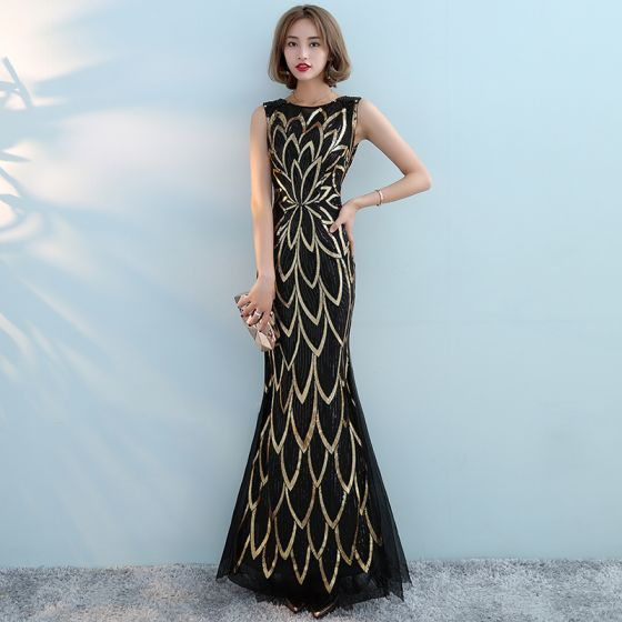 Chic / Beautiful Black Gold Evening Dresses  2017 Trumpet / Mermaid Sequins Scoop Neck Sleeveless Ankle Length Formal Dresses